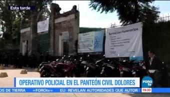Operativo en Panteón Civil de Dolores por sepelio de 'Pancho Cayagua'