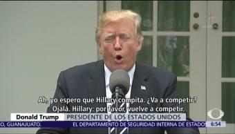 Trump pide a Hillary Clinton que se postule en 2020 para ganarle