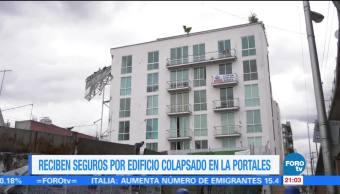 Reciben seguros por edificio colapsado en la Portales