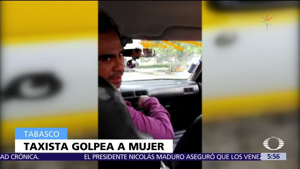 Taxista golpea a una mujer en Tabasco