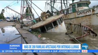 Más de 200 familias afectadas por lluvias en Veracruz