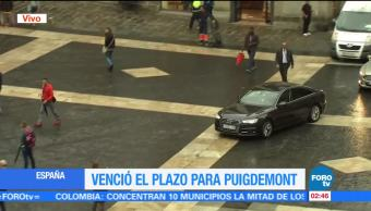 Vence plazo para que Puigdemont responda sobre independencia de Cataluña
