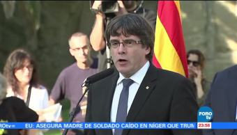 Él es Carles Puigdemont, presidente de la Generalitat catalana