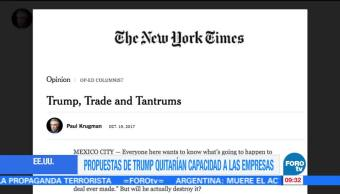 Terminar el TLCAN será terrible para México y EU: Paul Krugman