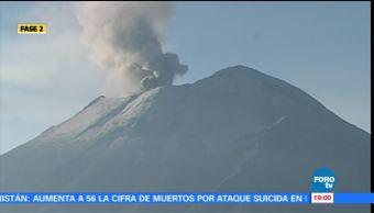 Volcán Popocatépetl registra 68 exhalaciones en las últimas horas