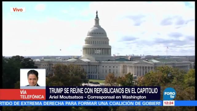 Arrojan banderas rusas a Trump en el Capitolio