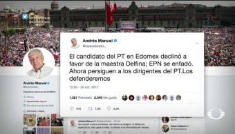 AMLO anuncia que defenderá a dirigentes del PT