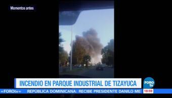 Se registra incendio en parque industrial en TizayucaSe registra incendio en parque industrial en Tizayuca