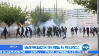 Manifestación en Grecia termina en violencia