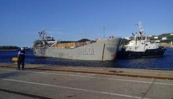 Llega buque 'Montes Azules' con ayuda humanitaria a Oaxaca