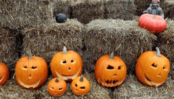 Calabazas de Halloween a la venta en Varsovia, Polonia