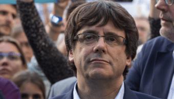 Carles Puigdemont, presidente de Cataluña, durante una protesta