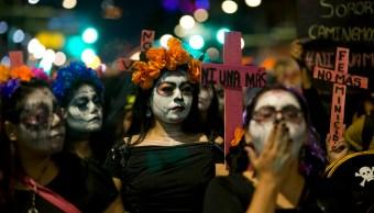 marcha catrinas, día muertos, manifestación, feminicidio