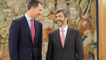 El rey Felipe VI con Carlos Lesmes, presidente del Tribunal Supremo