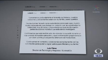 Emite Uber Comunicado Feminicidio Mariana Fuentes