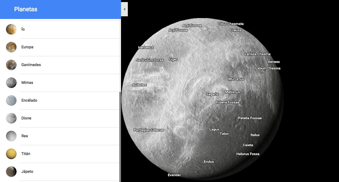 Google Maps te permite explorar planetas y lunas