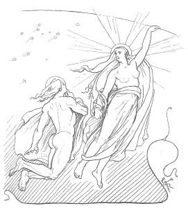 Deidades de la Luna y el Sol, Máni y Sól, por Lorenz Frølich