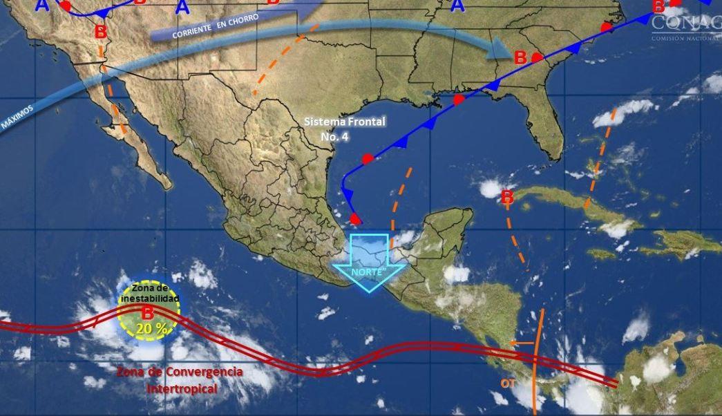 mapa con el clima para este 13 de octubre