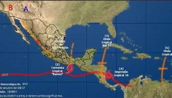Emiten alerta azul por depresión tropical 16 en Q. Roo
