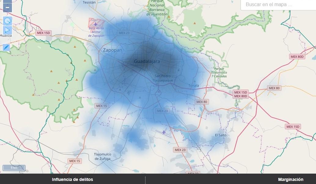 mapa de la delincuencia en guadalajara y zona metropolitiana