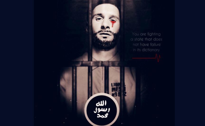 Montaje de Lionel Messi usado por el Estado Islámico