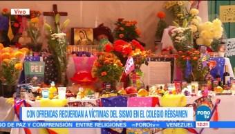 Ofrenda recuerda a víctimas del sismo 19S en el colegio Enrique Rebsamen