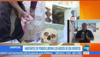 Limpian huesos de esqueletos en Pomuch, Campeche