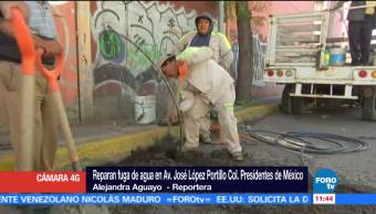Reparan fuga de agua en Avenida José López Portillo