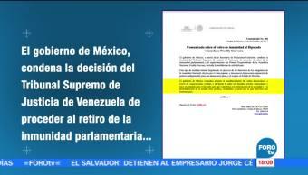 México condena decisión de Tribunal de Venezuela contra Freddy Guevara