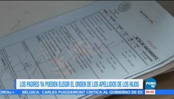 Orden de los apellidos en los hijos en la Ciudad de México