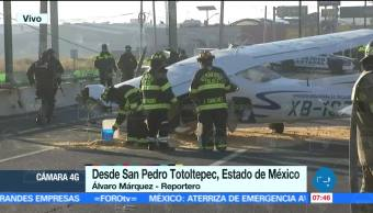 Avioneta aterriza de emergencia en el Boulevard Aeropuerto de Toluca, Edomex