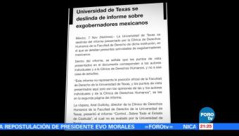Universidad de Texas se deslinda de informe de exgobernadores mexicanos