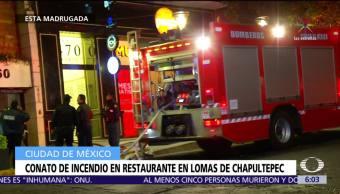 Sofocan conato de incendio en restaurante en Lomas de Chapultepec