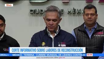 Mancera da corte informativo sobre labores de reconstrucción tras sismo