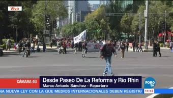 Manifestantes avanzan sobre carriles centrales de Reforma
