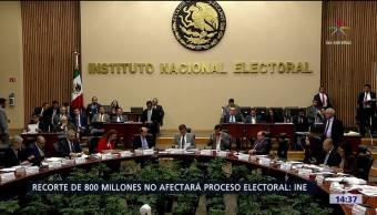 Recorte presupuestal para el INE, de 800 millones de pesos