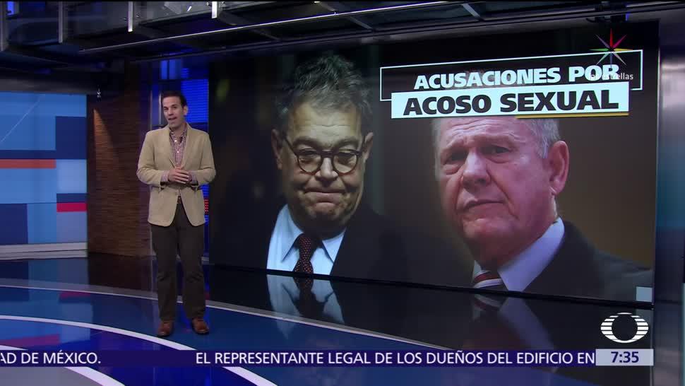 Los legisladores estadounidenses Roy Moore y Al Franken, acusados de acoso sexual
