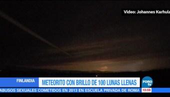 Meteorito emite brillo de 100 lunas llenas en Finlandia