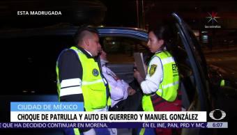 Choca patrulla contra auto en Guerrero y Manuel González, CDMX