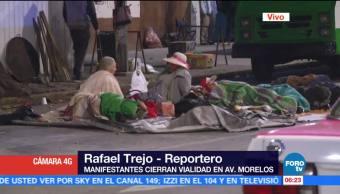 Manifestantes mantienen cerrada vialidad en Bucareli y avenida Morelos, CDMX