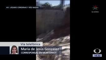Se derrumba muro de contención en Monterrey