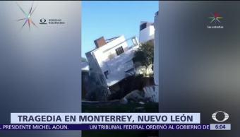 Continúan trabajos para localizar a personas desaparecidas por derrumbe en Monterrey