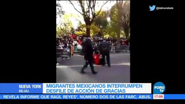 Migrantes mexicanos protestan durante desfile en NY