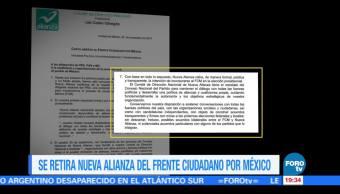 Nueva Alianza retira intención de incorporarse al Frente Ciudadano por México