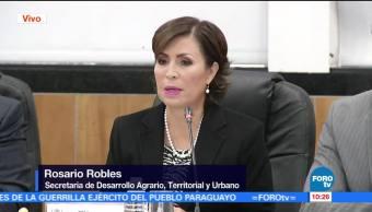 Rosario Robles, titular de Sedatu, comparece ante diputados