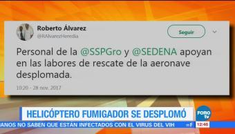 Se desploma helicóptero fumigador en Guerrero