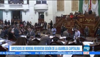 Diputados de Morena revientan sesión de la Asamblea de la CDMX