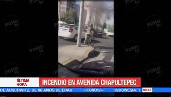 Se reporta incendio en avenida Chapultepec