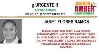 Reactivan Alerta Amber para localizar a la menor Janet Flores Ramos
