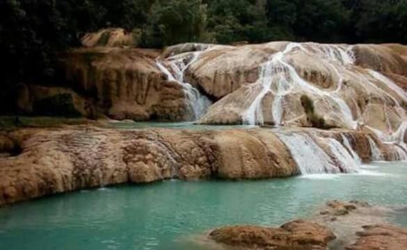Reportan inusual descenso del nivel de agua en Cascadas de Agua Azul